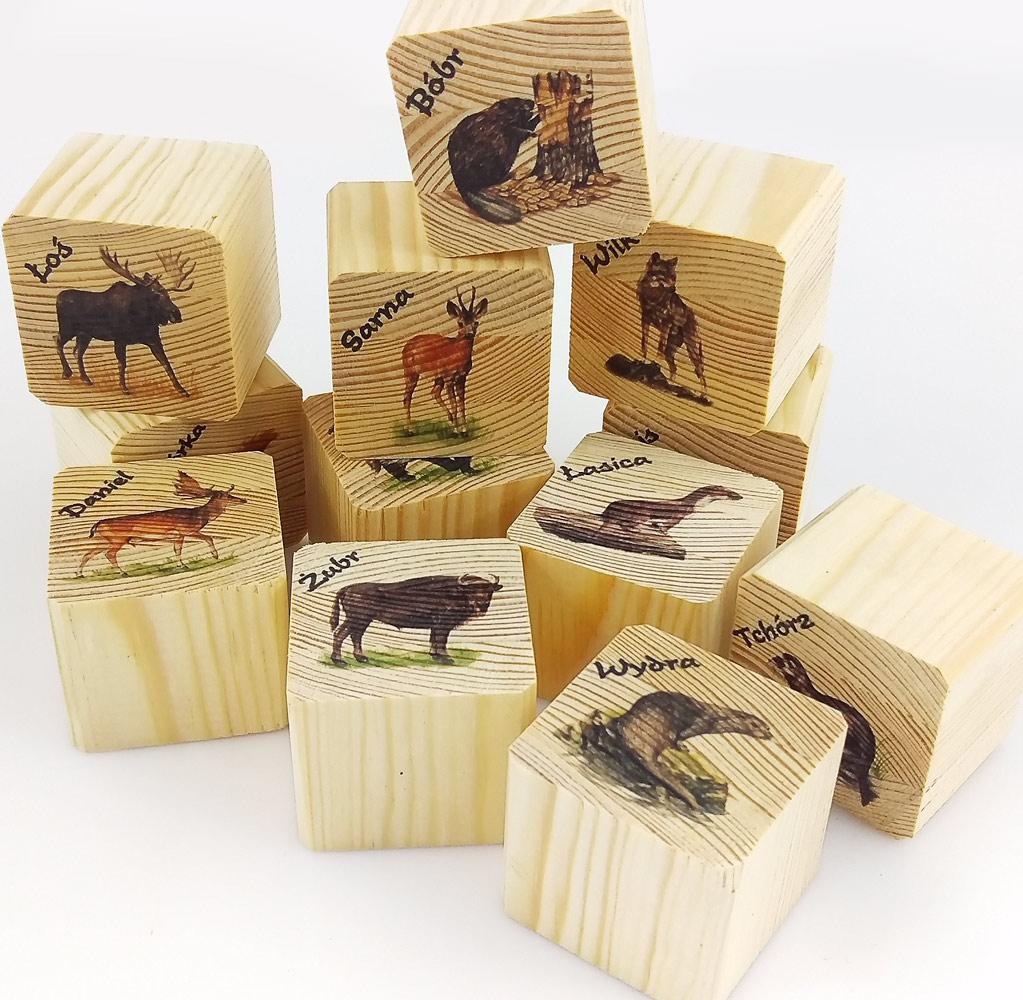 klocki do nauki drukowane na drewnie